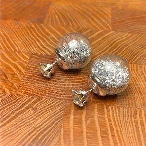 Glitter filled tribale crystal stud earrings